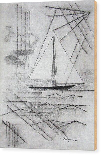 Sailing In The City Harbor Wood Print