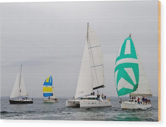 Sailing In The Mist Wood Print by Tom Dowd