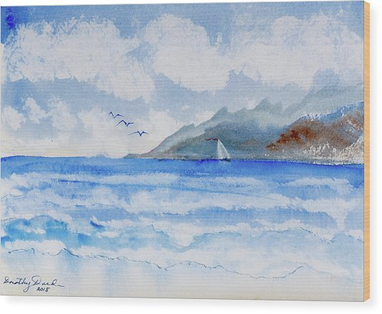 Sailing Into Moorea Wood Print
