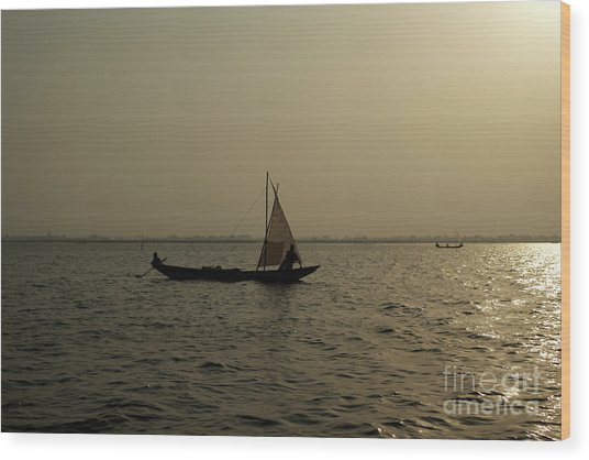Sailing Into The Sunset Wood Print by David Shaffer