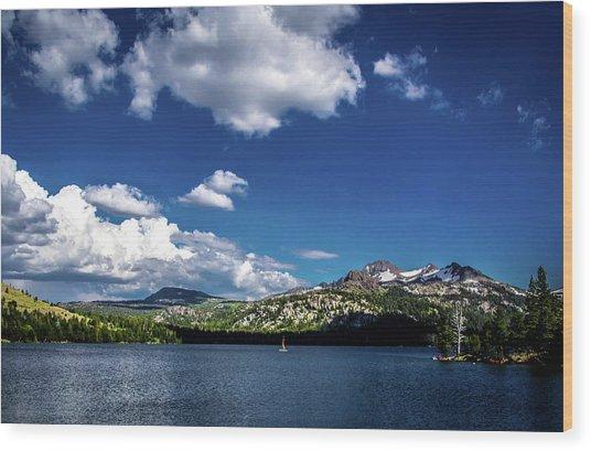Sailing On Caples Lake Wood Print