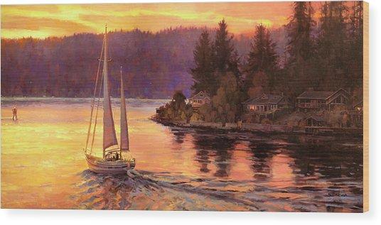 Sailing On The Sound Wood Print