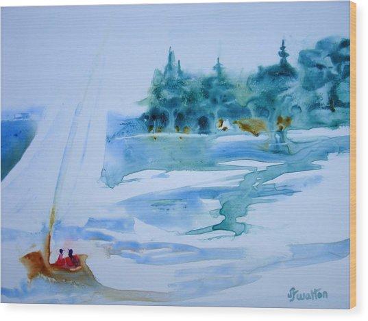 Sailing On Yupo Wood Print by Judy Fischer Walton