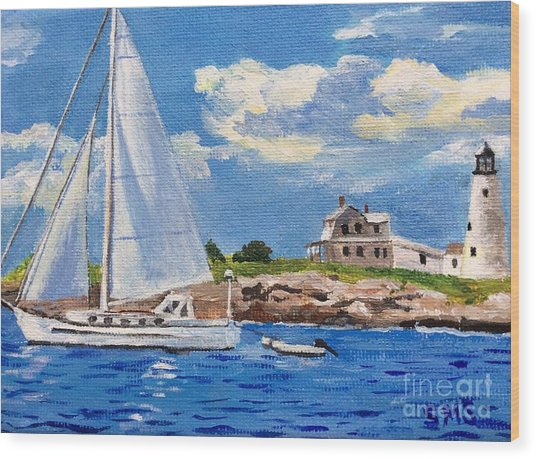 Sailing Past Wood Island Lighthouse Wood Print