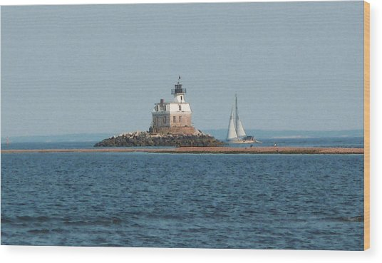 Sailing Penfield Lighthouse Wood Print
