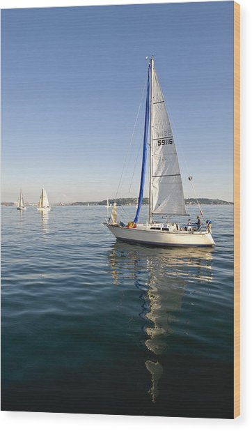 Sailing Reflection Wood Print by Tom Dowd