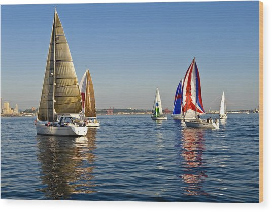 Sailing Seattle Wood Print by Tom Dowd
