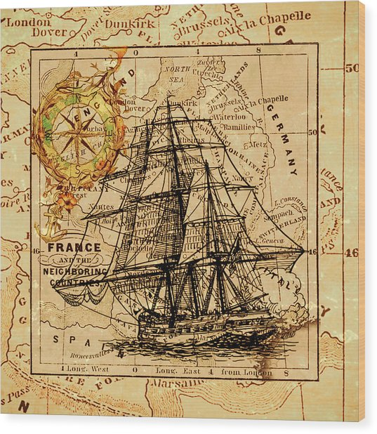 Sailing Ship Map Wood Print
