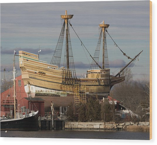 Sailing Ship Repairs Wood Print