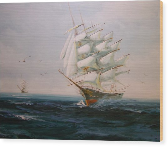 Sailing Ships The Beauty Of The Sea Wood Print by Robert E Gebler