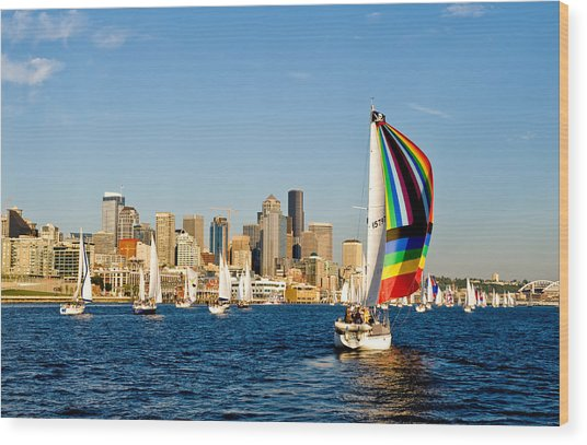 Sailing Some Color To Seattle Wood Print by Tom Dowd