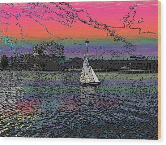 Sailing South Lake Union Wood Print