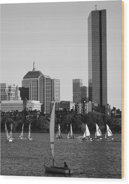 Sailing The Charles River Boston Ma Black And White Wood Print