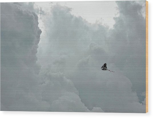 Sailing To The Storm Wood Print by JAMART Photography