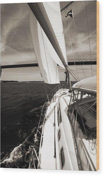 Sailing Under The Arthur Ravenel Jr. Bridge In Charleston Sc Wood Print