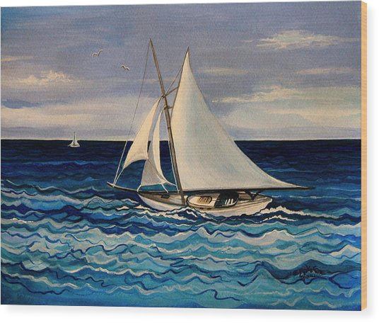 Sailing With The Waves Wood Print
