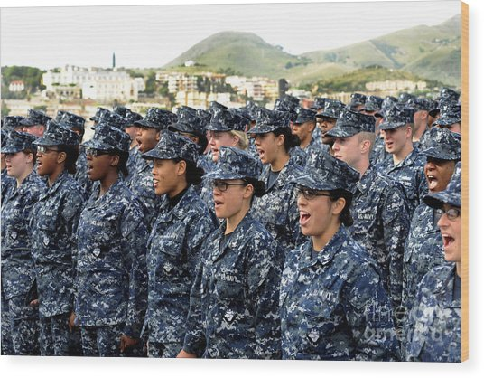 Wood Print featuring the photograph Sailors Yell Before An All-hands Call by Stocktrek Images