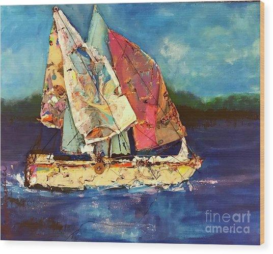 Sails Away Wood Print