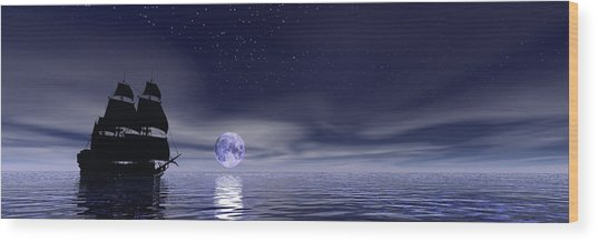 Sails Beneath The Moon Wood Print