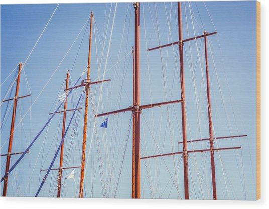 Sails In Santorini Wood Print by Matti Ollikainen
