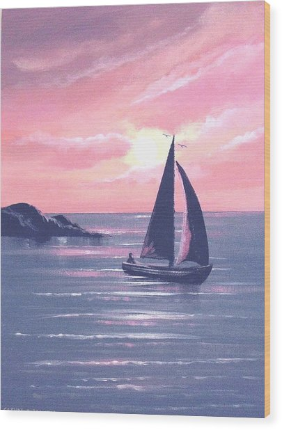 Sails In The Sunset Wood Print by Cathal O malley