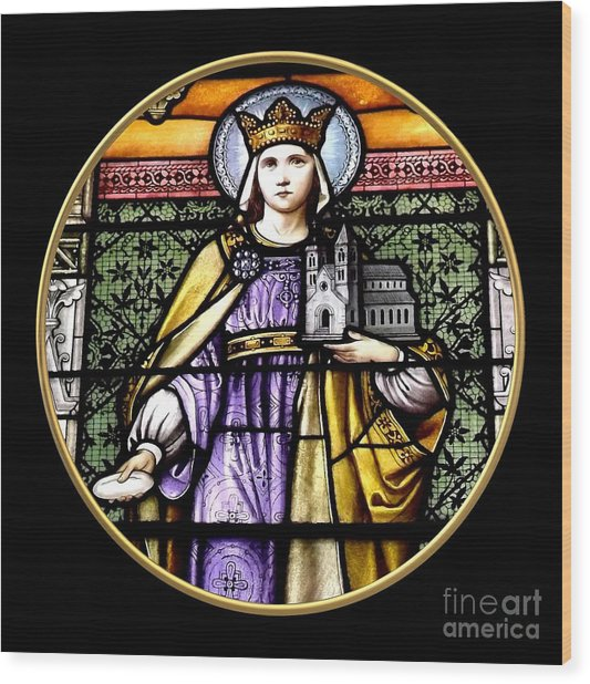 Wood Print featuring the photograph Saint Adelaide Stained Glass Window In The Round by Rose Santuci-Sofranko