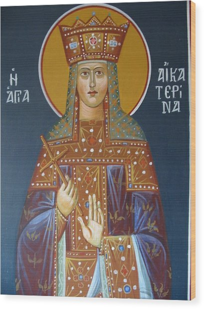 Saint Aekaterina Wood Print by George Siaba