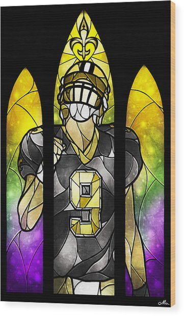 Saint Brees Wood Print