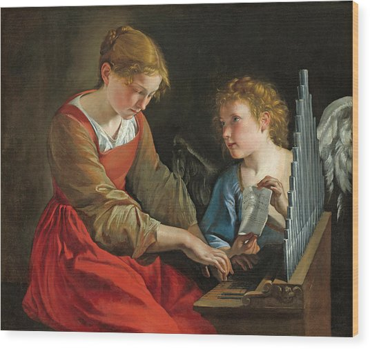 Saint Cecilia And An Angel Wood Print