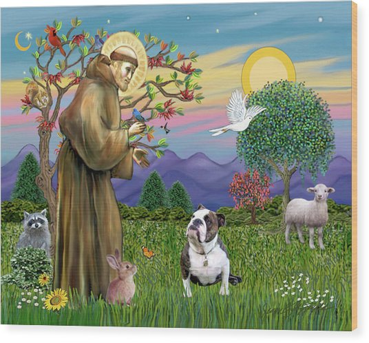 Saint Francis Blesses A Brown And White English Bulldog Wood Print