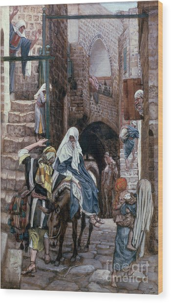 Saint Joseph Seeks Lodging In Bethlehem Wood Print