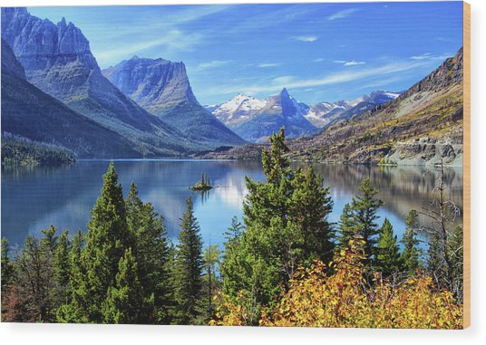 Saint Mary Lake In Glacier National Park Wood Print