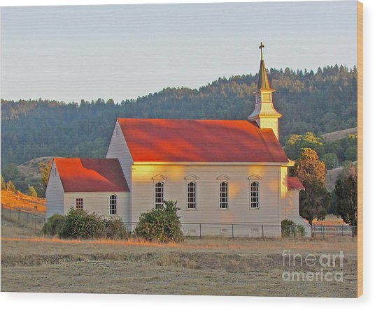 St. Mary's Church At Sunset Wood Print