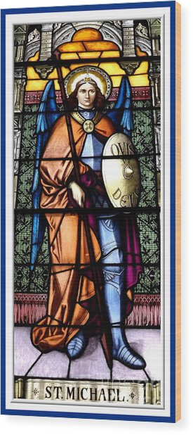 Wood Print featuring the photograph Saint Michael The Archangel Stained Glass Window by Rose Santuci-Sofranko