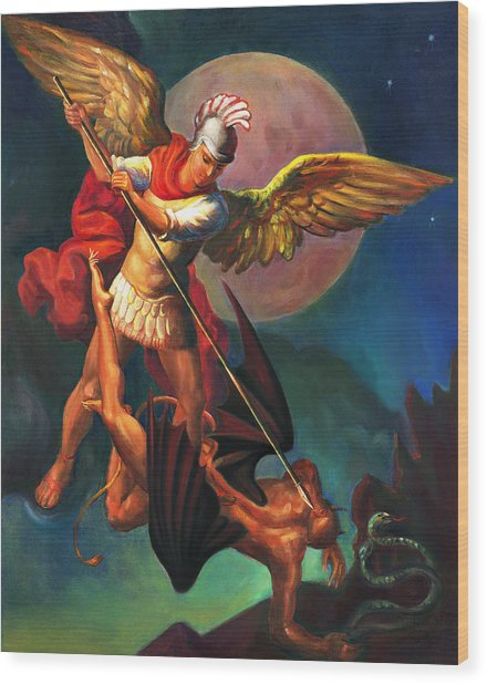 Saint Michael The Warrior Archangel Wood Print