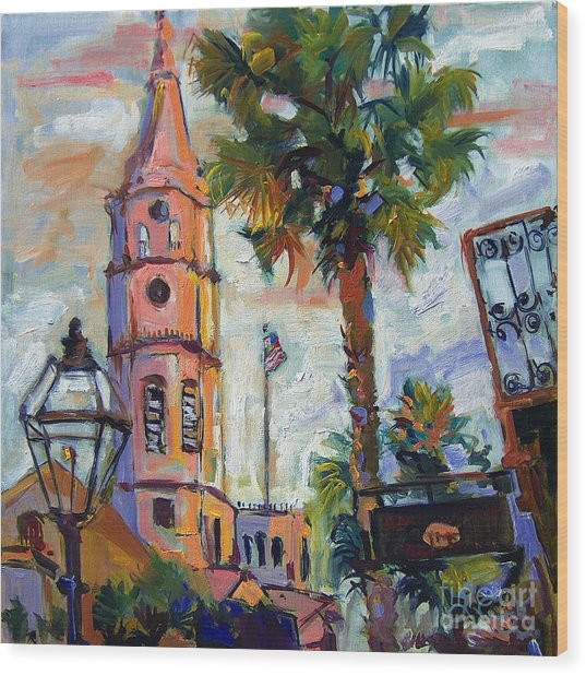 Saint Michaels Church Charleston Sc Oil Painting Wood Print
