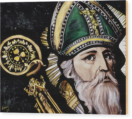 Saint Patrick Wood Print by Leeann Stumpf