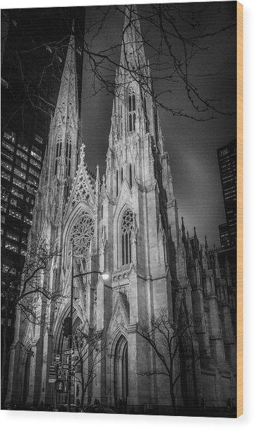 Saint Patrick's - At Night Wood Print