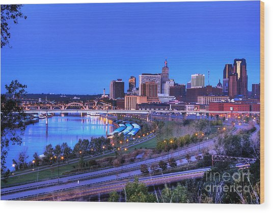 Saint Paul Minnesota Skyline Blue Morning Light Wood Print