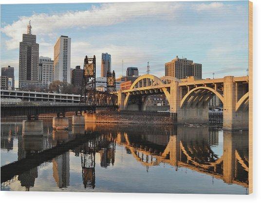 Saint Paul Mississippi River Sunset Wood Print