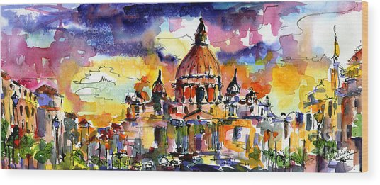 Saint Peter Basilica Rome Italy Wood Print by Ginette Callaway