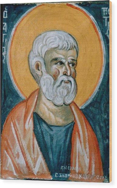 Saint Peter Wood Print by George Siaba