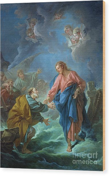 Saint Peter Invited To Walk On The Water Wood Print