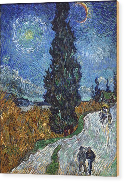 Saint-remy Road With Cypress And Star Wood Print