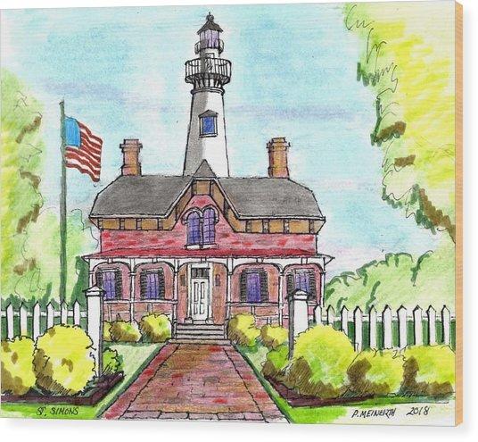 Saint Simons Lighthouse Wood Print by Paul Meinerth