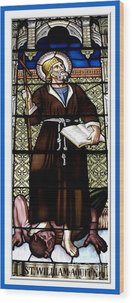 Saint William Of Aquitaine Stained Glass Window Wood Print