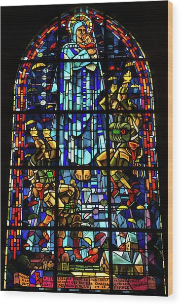 Sainte-mere-eglise Paratrooper Tribute Stained Glass Window Wood Print