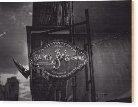 Saints And Sinners In Black And White Wood Print