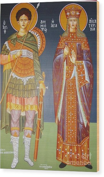 Saints Dimitrius And Aekaterina Wood Print by George Siaba