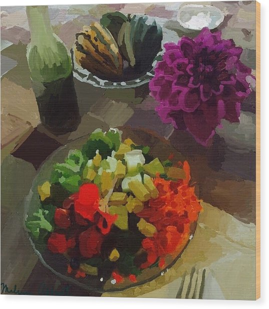 Salad And Dressing With Squash And Purple Dahlia Wood Print